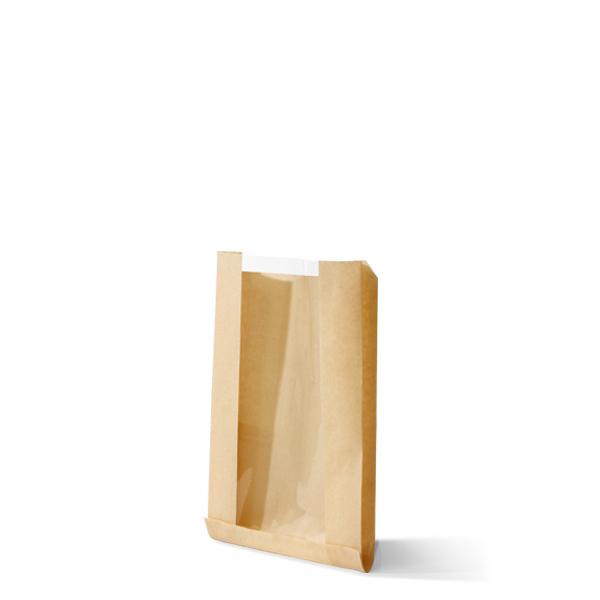Kraft zak met venster van pla