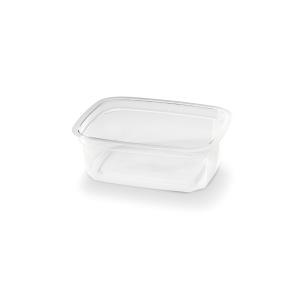 Transparante bakje rechthoekig van plastic, met een inhoud van 200cc