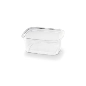 Transparante bakje rechthoekig van plastic, met een inhoud van 250cc