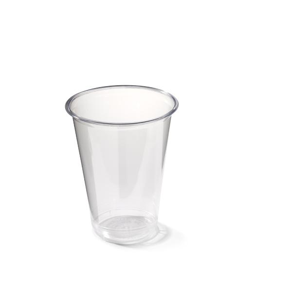 Plastic frisdrankglas van transparant plastic.