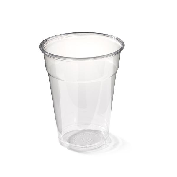 Glasheldere bierbeker van plastic, met een inhoud van 300cc