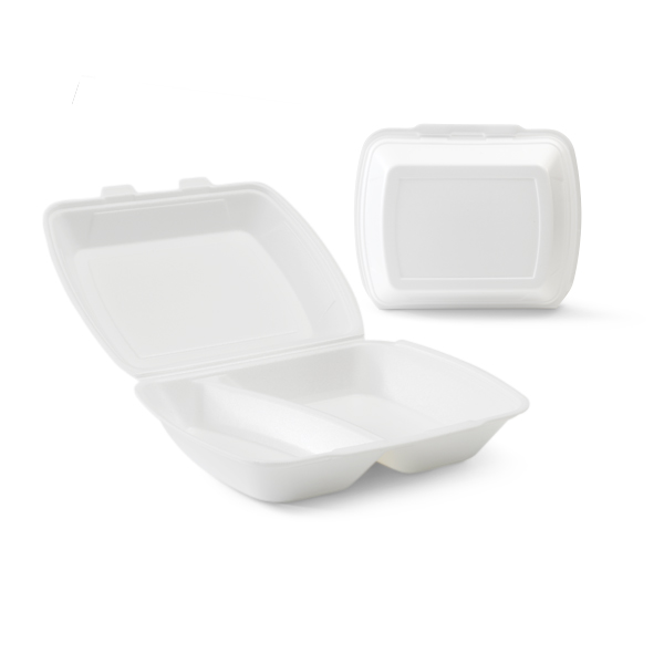 Witte foam menubak met een 2 vaks verdeling