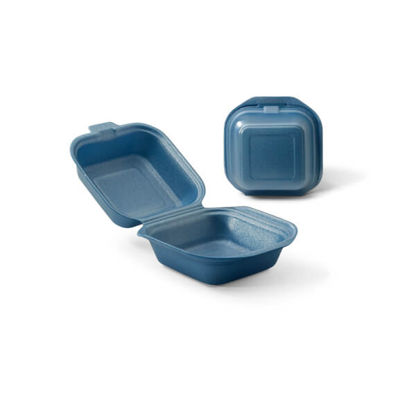 Hamburgerbak foam uitgevoerd in het blauw
