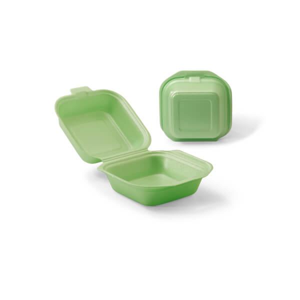 Hamburgerbak foam uitgevoerd in het groen