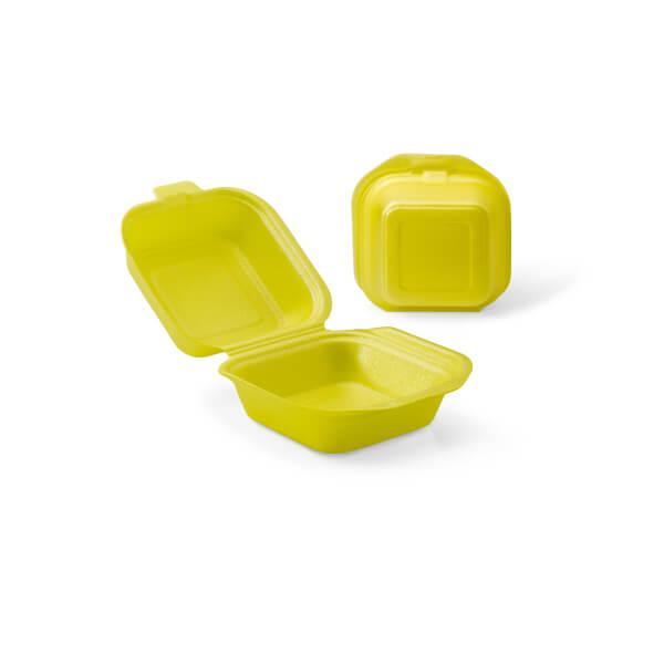 Hamburgerbak foam uitgevoerd in het geel