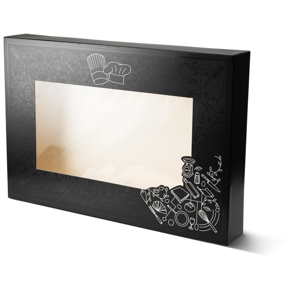 Catering doos groot met venster voor bijvoorbeeld salades, maaltijden etc. uitgevoerd in het zwart