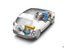 3008 Hybrid4 schemat układu napędowego