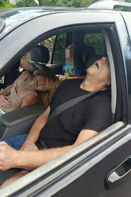 DRUGS: Horrifying pictures show parents 'overdosed on heroin' passed out in car