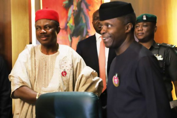 VP Yemi Osinbajo and Governor Willie Obiano at the NEC meeting in Abuja: Meeting heard about 500 tax dodgers