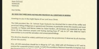 CAN declares three days fasting and prayers