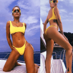 Rita Ora flaunts her sexy body as she poses on a yacht in France.