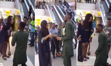 Nigerian lady gave man hot slaps as he went down on his knees to either beg or propose (video)