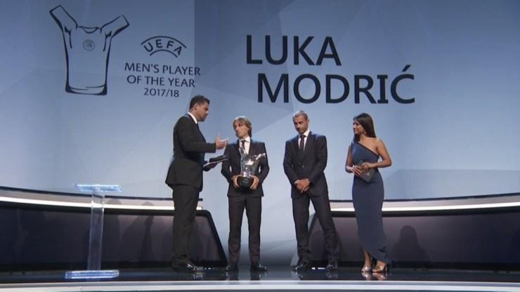 Real Madrid midfielder Luka Modric beats Cristiano Ronaldo and Mohamed Salah to win UEFA