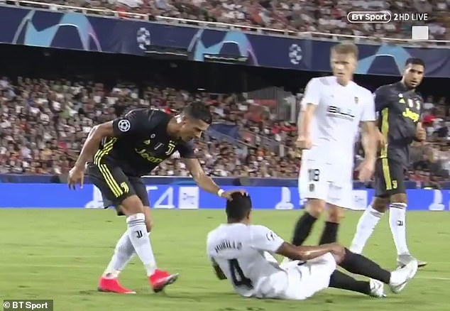 Cristiano Ronaldo leaves pitch in tears after receiving red card for grabbing opponent by the hair on Champions League debut for Juventus (Video)