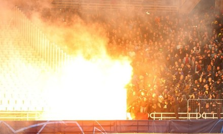 Moment Petrol bomb exploded in AEK's stadium ahead of Champions League clash with Ajax (Photos/Video)