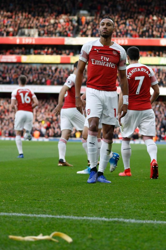 Tottenham fan arrested after banana skin thrown at Pierre-Emerick Aubameyang in derby defeat to Arsenal
