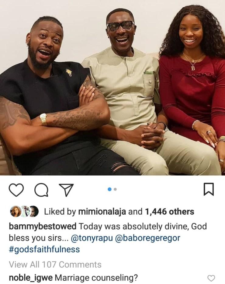 Bambam and Teddy A meet popular Lagos pastor Tony Rapu