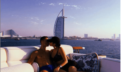 Cristiano Ronaldo kissing Georgina