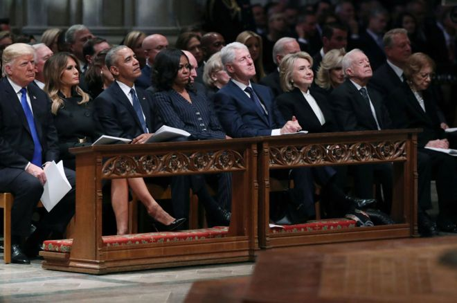 Trump and Obama share awkward, tense moment at George H.W. Bush funeral
