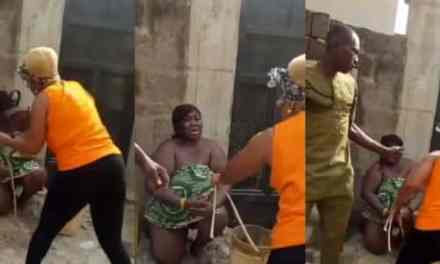 Nigerian woman flogs lady who slept with her husband (Video)