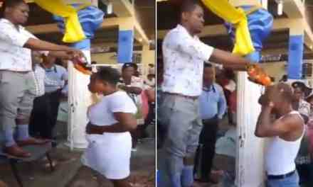 Pastor bathes members with bottles of soft drinks