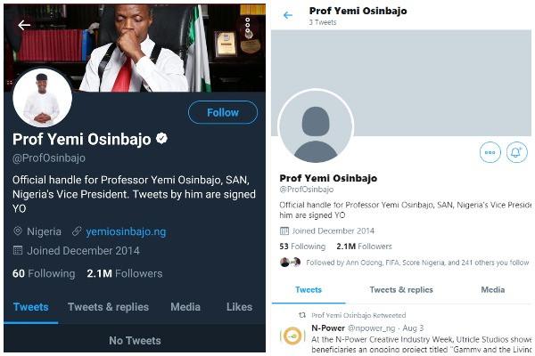 Twitter unverifies Osinbajo account, deletes over 2000 tweets