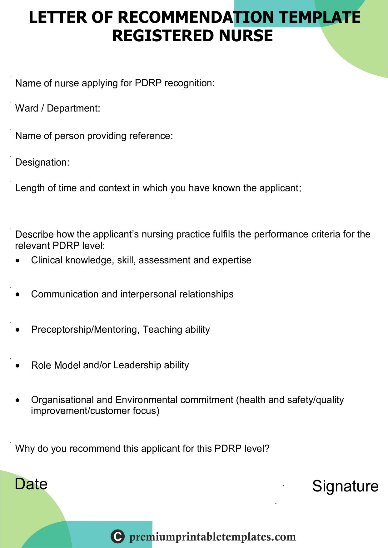 Recommendation Letter For Registered Nurse