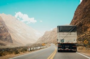 Moving truck on the road