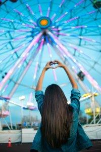 girl and a ferris wheel