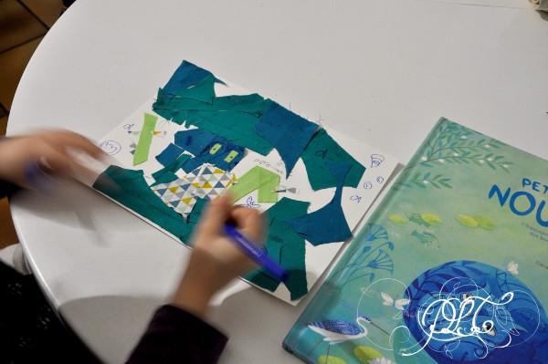 Prendre le temps - Voyageons ludique au fil d'un fleuve - Hippopotame - tableau tissu collage