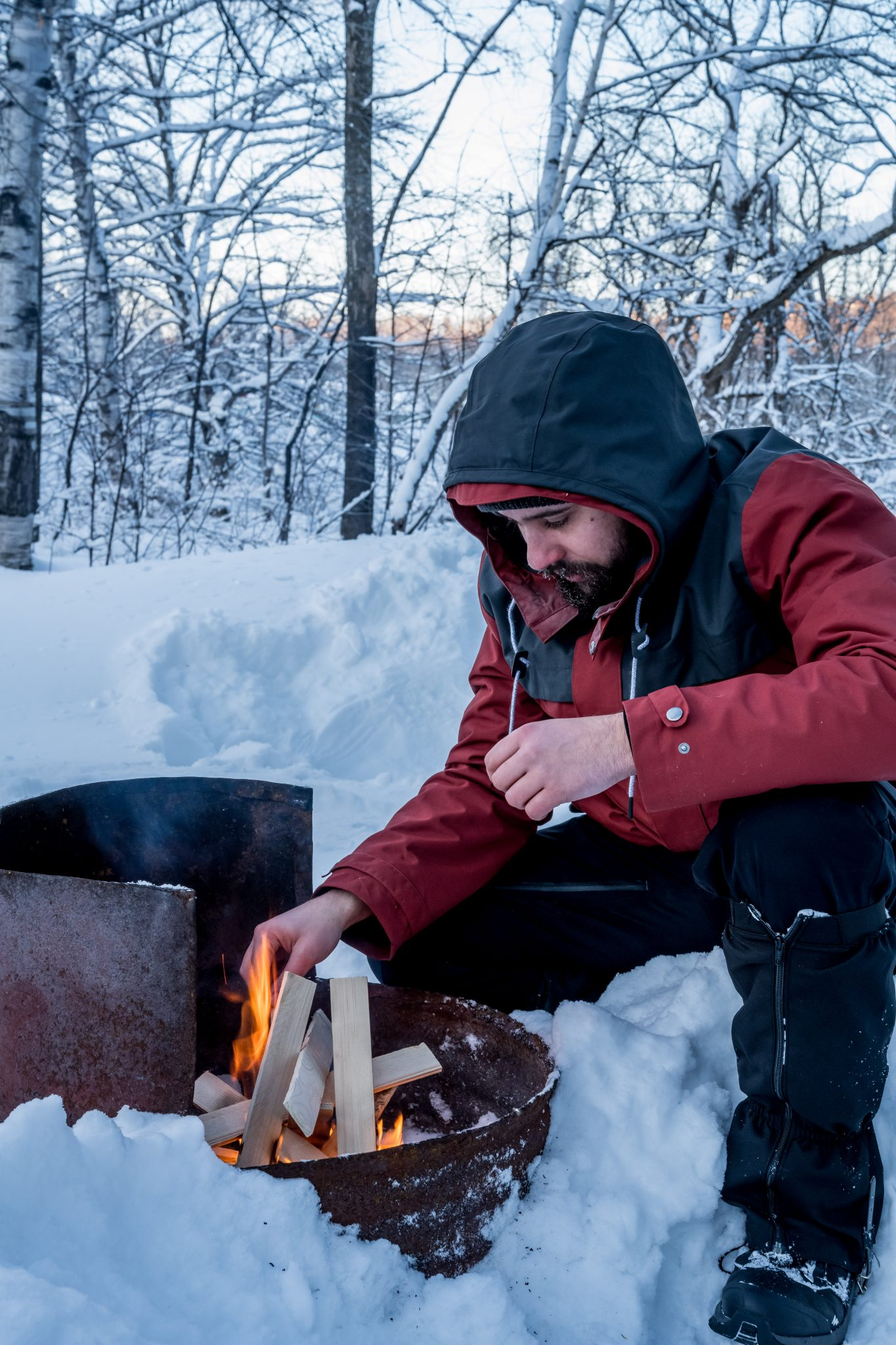 feu camping hiver