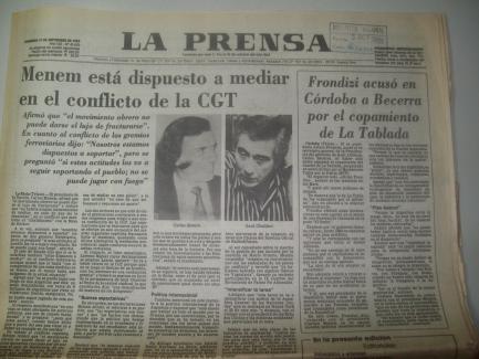 Declaraciones de Frondizi La Prensa 19 sept 1989 Nro 41435 Portada del diario
