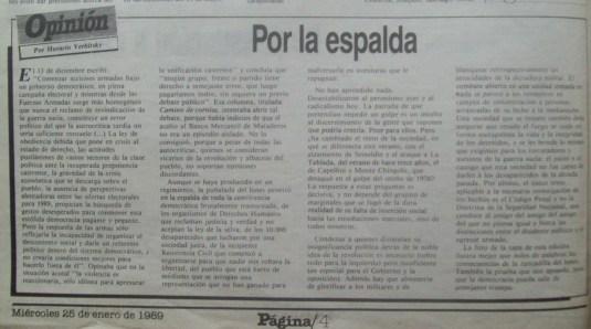 H Verbitsky Por la espalda Pagina 12 25 de enero de 1989 Año 2 Nro 503 pag 2