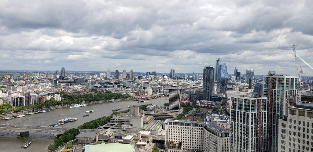 View from the London Eye looking Northeast toward Waterloo Bridge