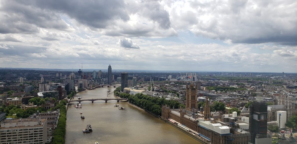 View from the London Eye looking South toward Westminster