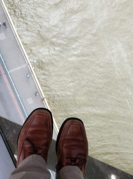 Looking down into the Thames from the upper walkway