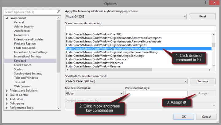 Keyboard Options Dialog