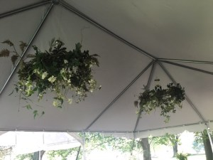 Farmington Lake rain tent floral chandeliers