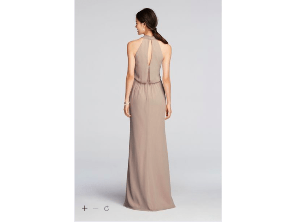 David's Bridal Long Chiffon Dress With Cowl Neckline