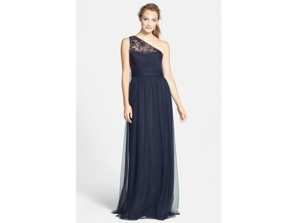 Amsale Lace & Tulle One-Shoulder Gown, Size: 14