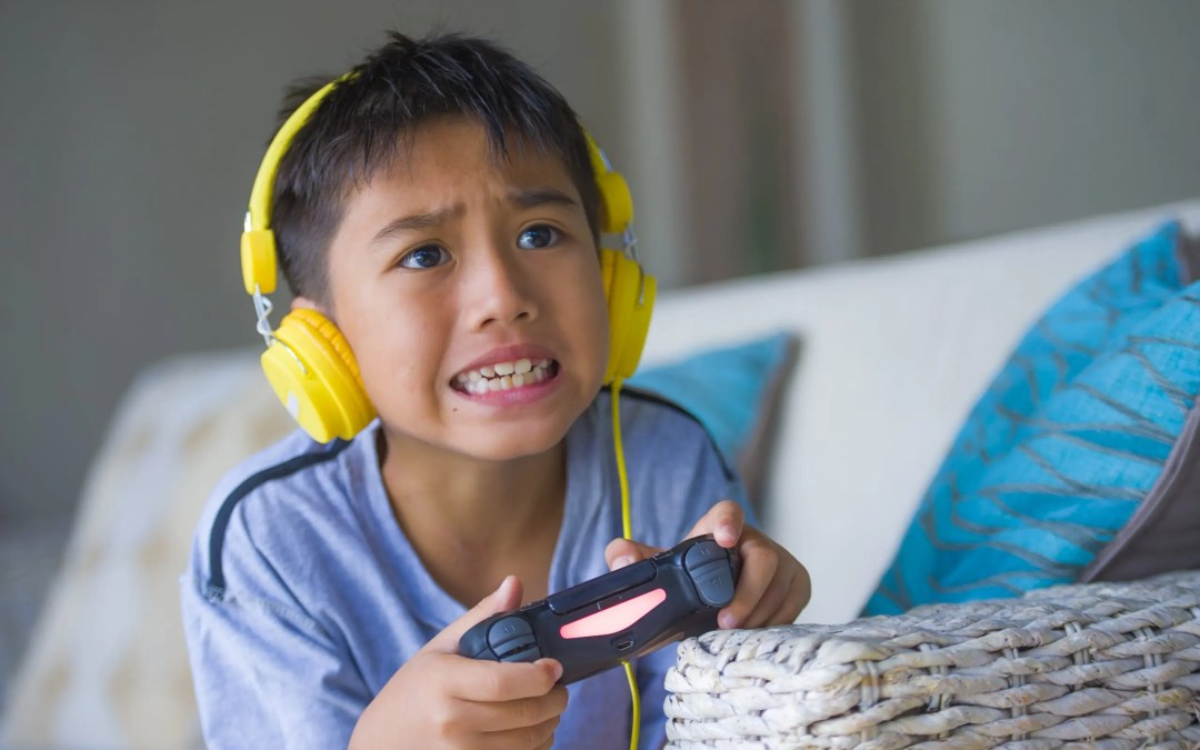 Frustrated Boy Playing Online Games