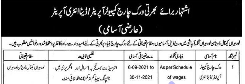 Irrigation Department Punjab Jobs 2021 Advertisement