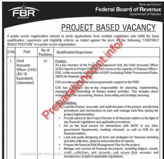 FBR Jobs August 2021 - www fbr gov pk jobs 2021 application form