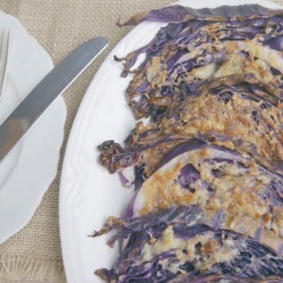 Parmesan and Garlic Roasted Purple Cabbage