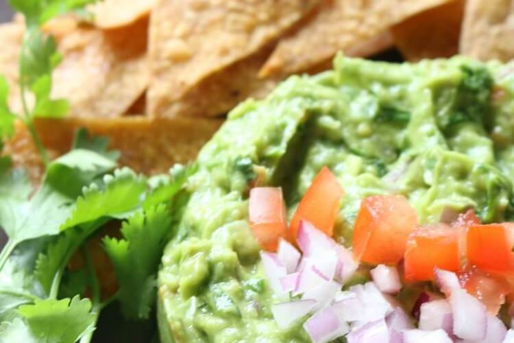 Chunky Guacamole with Homemade Baked Tortilla Chips