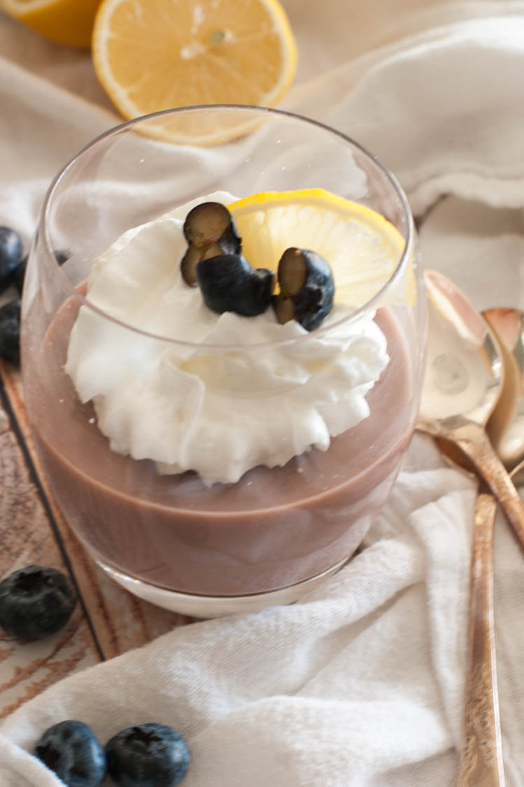 No Bake Lemon Blueberry Mousse - this dessert is slightly tart and wonderfully sweet. Made with only 5 simple ingredients, it's naturally primal and paleo-ish using probiotic-rich whole milk kefir and maple syrup for sweetness.