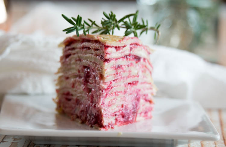 Paleo Crêpe Cake with Cranberries