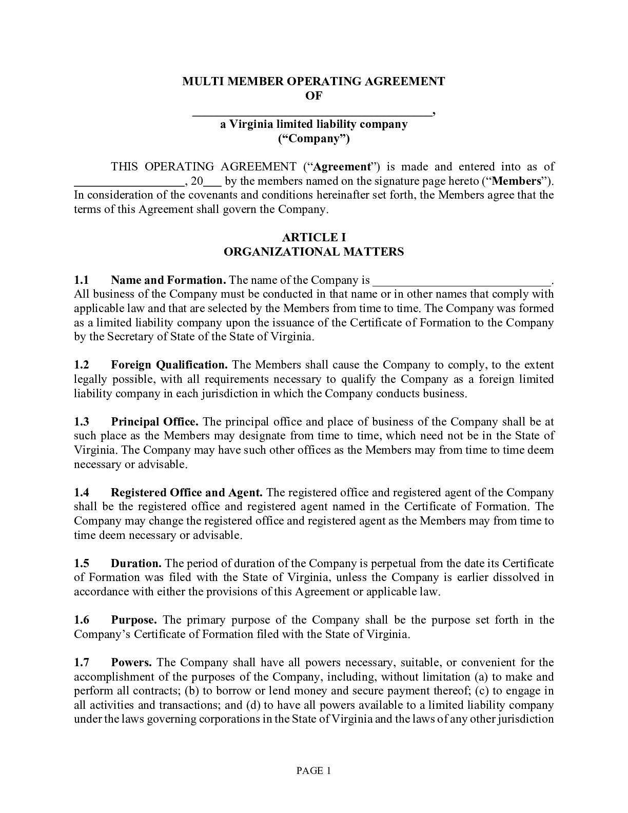 Using our pdf template operating agreement, you can design your own agreement suing this as a guide al the way. Free Virginia Llc Operating Agreement Template Pdf Word