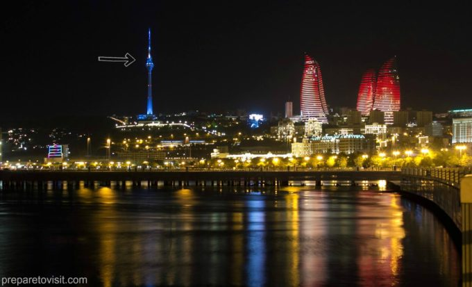 View of Baku - TV Tower - Flame Towers