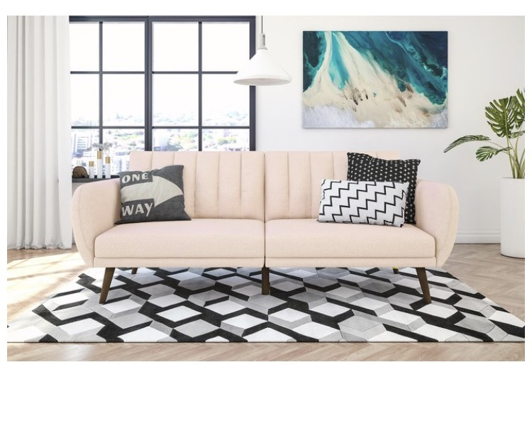 Soft Pink and White striped couch with scallop design . Pretty in Pink Lundby Lamp with Matching Sofa